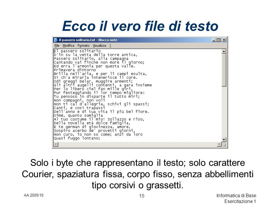 AA 2009/10 Informatica di Base Esercitazione 1 15 Ecco il vero file di testo Solo i byte che rappresentano il testo; solo carattere Courier, spaziatura fissa, corpo fisso, senza abbellimenti tipo corsivi o grassetti.