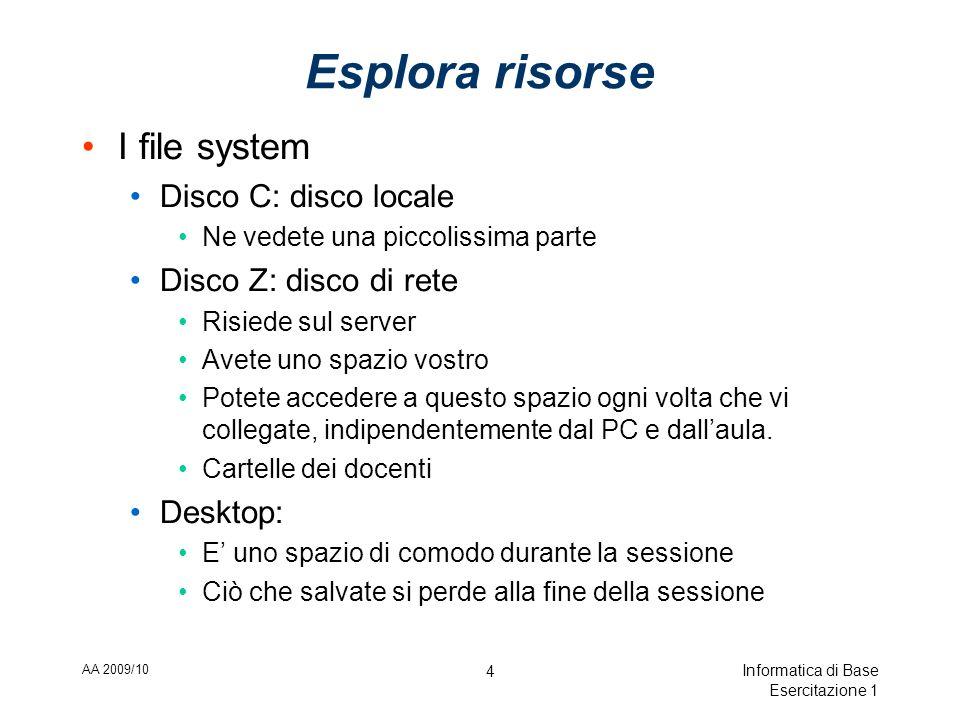 AA 2009/10 Informatica di Base Esercitazione 1 4 Esplora risorse I file system Disco C: disco locale Ne vedete una piccolissima parte Disco Z: disco di rete Risiede sul server Avete uno spazio vostro Potete accedere a questo spazio ogni volta che vi collegate, indipendentemente dal PC e dallaula.
