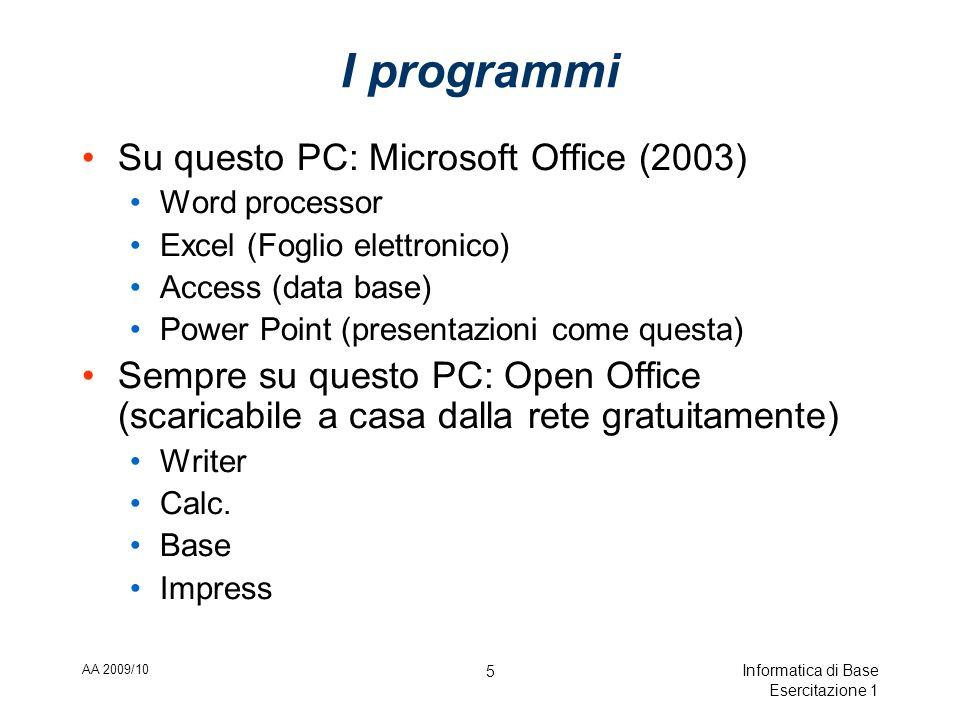 AA 2009/10 Informatica di Base Esercitazione 1 16 Formati di file usati per scrivere testi Formato MS Word:.doc Non è un formato testo Formato Open Office Writer:.odt Non è un formato testo Formato di blocco-note:.txt E un formato testo!!!!