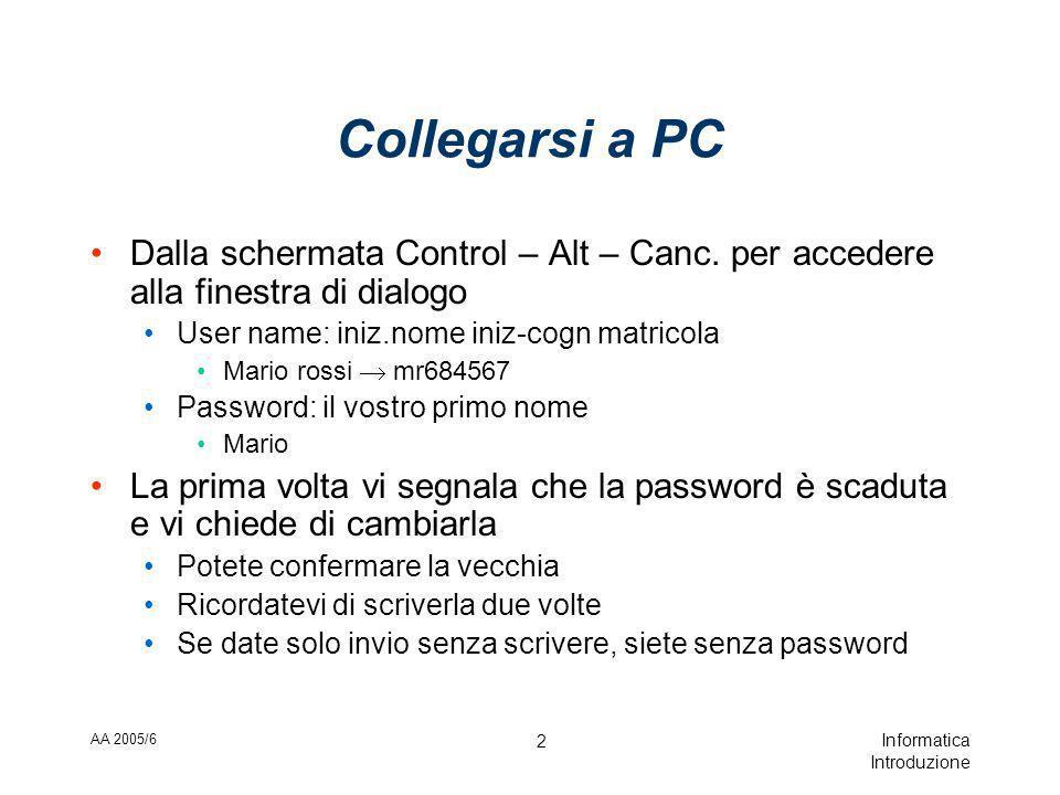 AA 2005/6 Informatica Introduzione 2 Collegarsi a PC Dalla schermata Control – Alt – Canc.