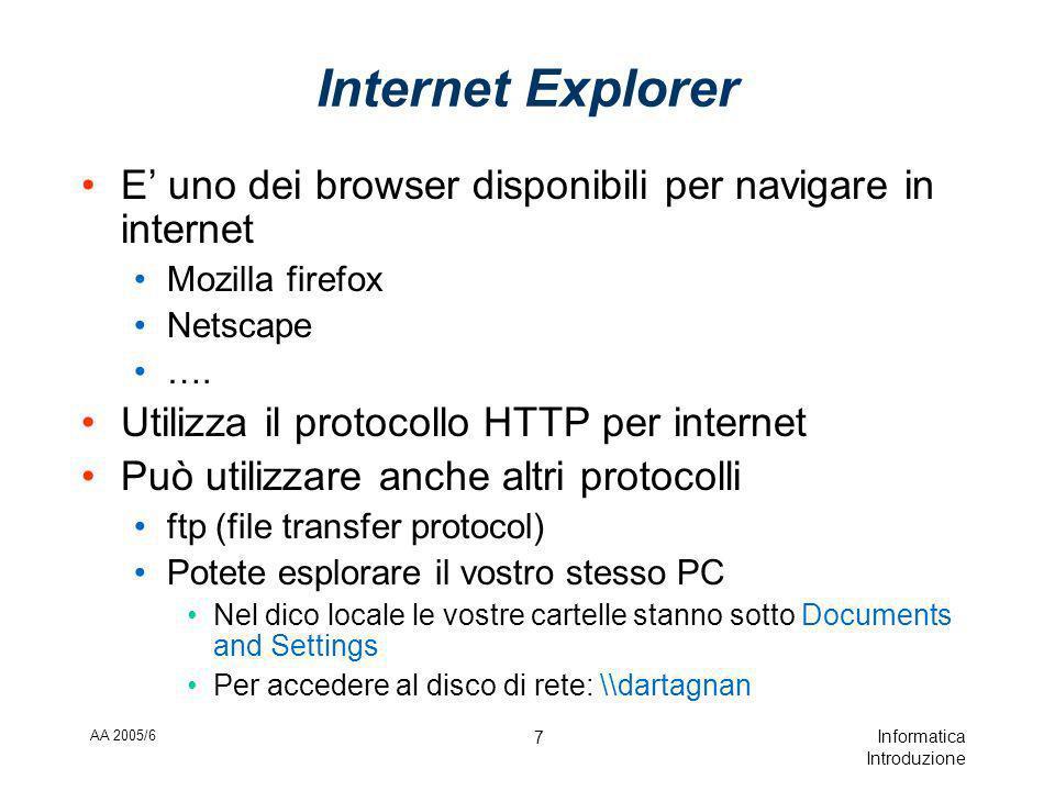 AA 2005/6 Informatica Introduzione 7 Internet Explorer E uno dei browser disponibili per navigare in internet Mozilla firefox Netscape ….