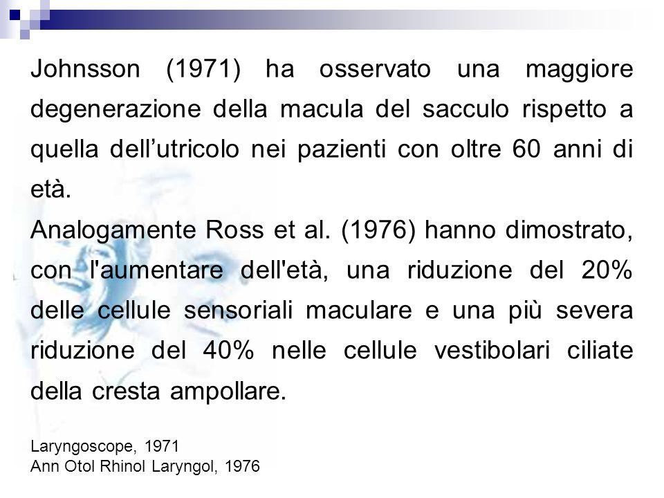 Johnsson (1971) ha osservato una maggiore degenerazione della macula del sacculo rispetto a quella dellutricolo nei pazienti con oltre 60 anni di età.