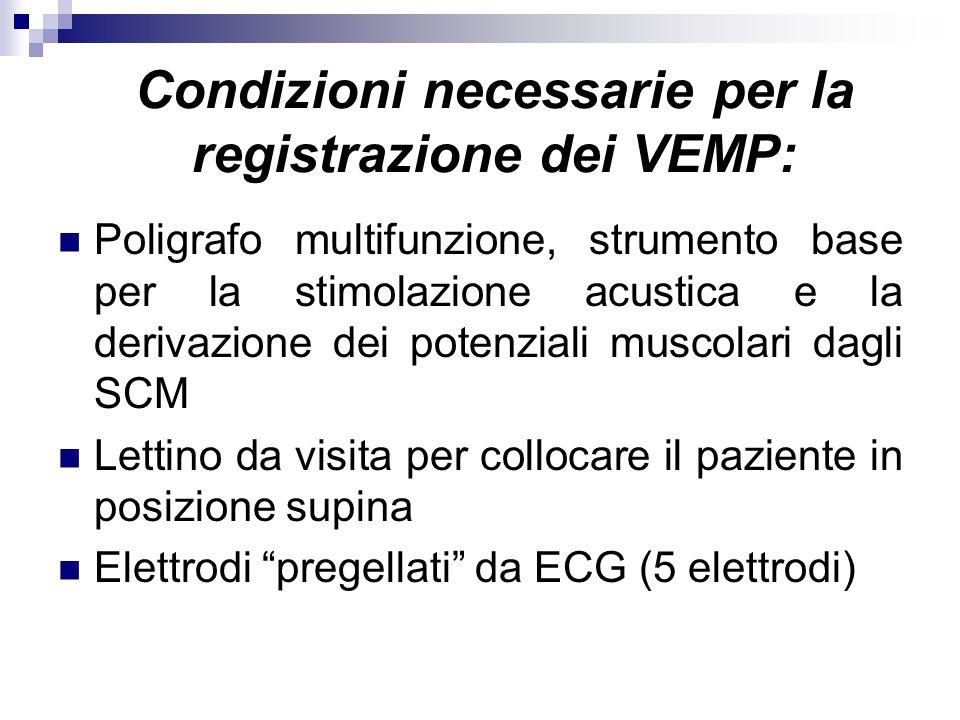Condizioni necessarie per la registrazione dei VEMP: Poligrafo multifunzione, strumento base per la stimolazione acustica e la derivazione dei potenzi