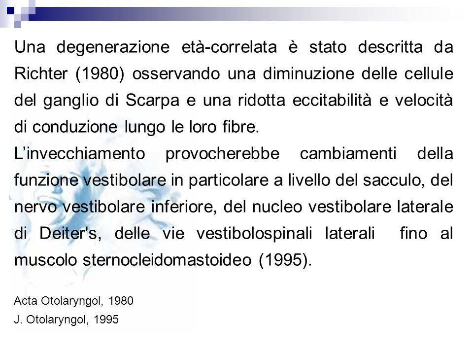 Una degenerazione età-correlata è stato descritta da Richter (1980) osservando una diminuzione delle cellule del ganglio di Scarpa e una ridotta eccit