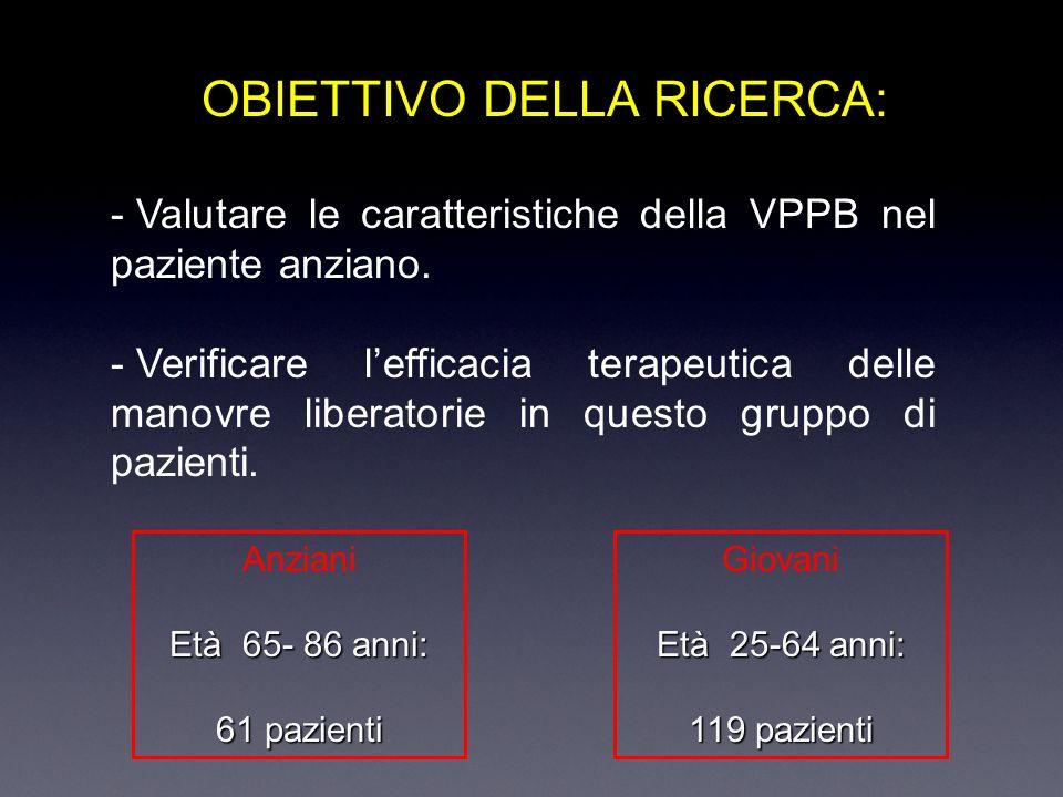 OBIETTIVO DELLA RICERCA: - Valutare le caratteristiche della VPPB nel paziente anziano.