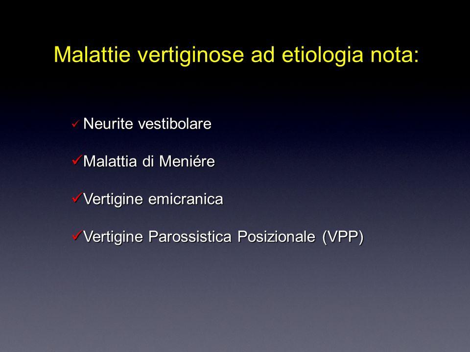 Malattie vertiginose ad etiologia nota: N Neurite vestibolare M Malattia di Meniére V Vertigine emicranica ertigine Parossistica Posizionale (VPP)