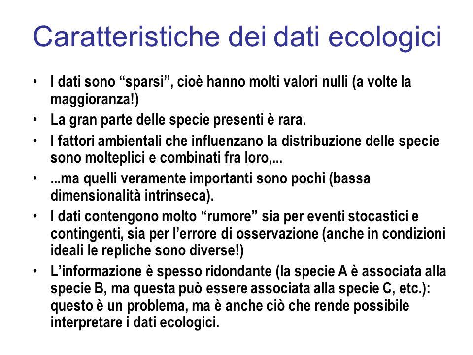 Caratteristiche dei dati ecologici I dati sono sparsi, cioè hanno molti valori nulli (a volte la maggioranza!) La gran parte delle specie presenti è r
