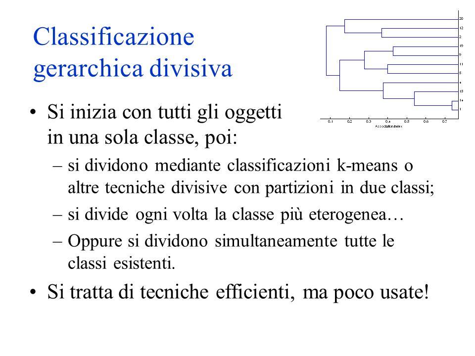 Classificazione gerarchica divisiva Si inizia con tutti gli oggetti in una sola classe, poi: –si dividono mediante classificazioni k-means o altre tecniche divisive con partizioni in due classi; –si divide ogni volta la classe più eterogenea… –Oppure si dividono simultaneamente tutte le classi esistenti.