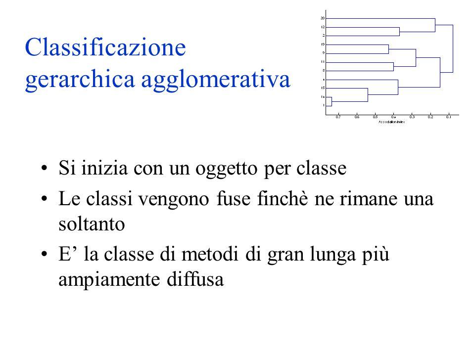 Classificazione gerarchica agglomerativa Si inizia con un oggetto per classe Le classi vengono fuse finchè ne rimane una soltanto E la classe di metodi di gran lunga più ampiamente diffusa
