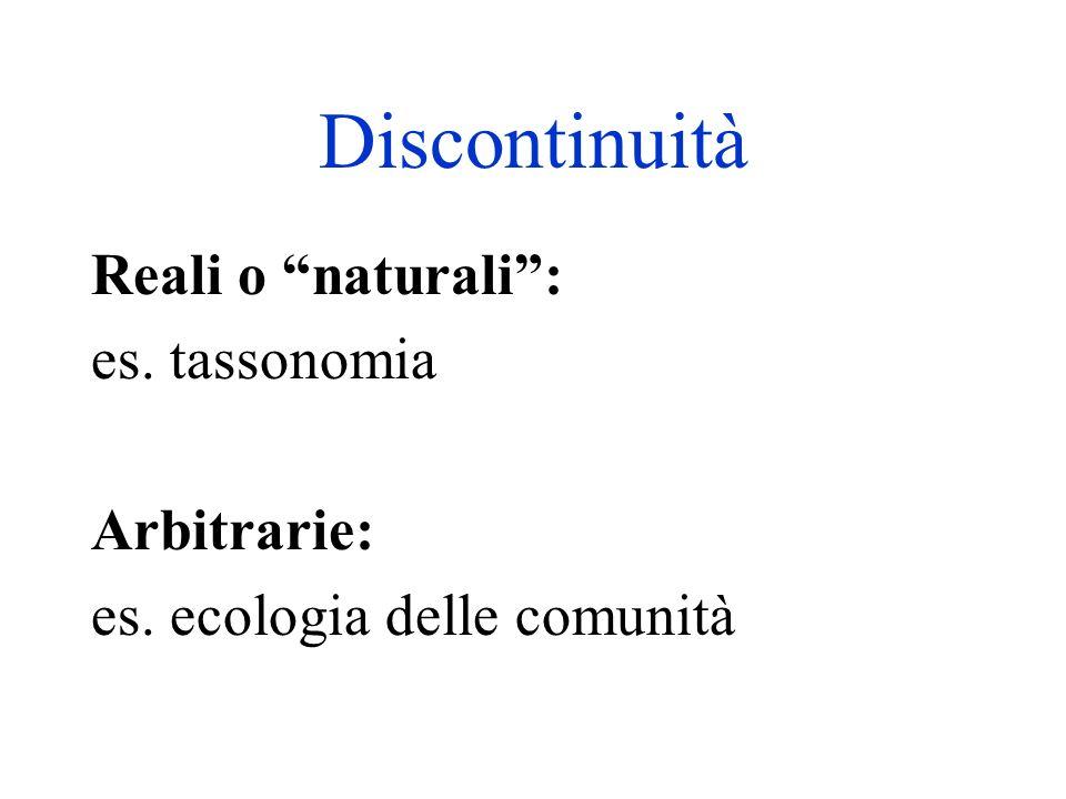 Discontinuità Reali o naturali: es. tassonomia Arbitrarie: es. ecologia delle comunità