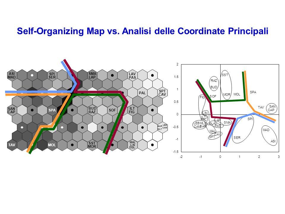 Self-Organizing Map vs. Analisi delle Coordinate Principali