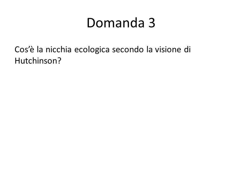 Domanda 3 Cosè la nicchia ecologica secondo la visione di Hutchinson