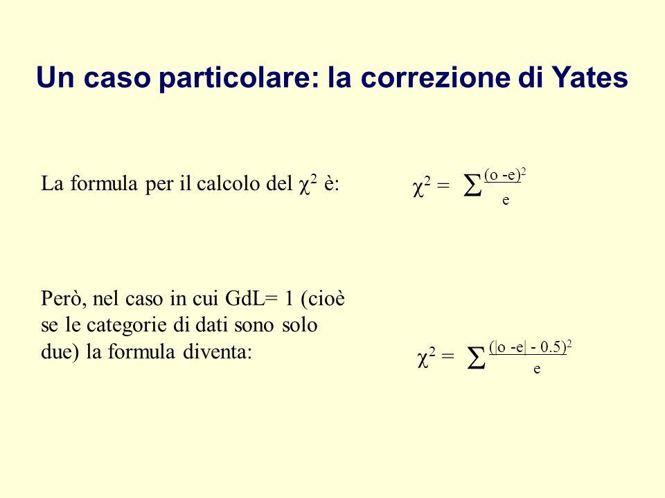 Un caso particolare: la correzione di Yates La formula per il calcolo del 2 è: (o -e) 2 e 2 = Però, nel caso in cui GdL= 1 (cioè se le categorie di da