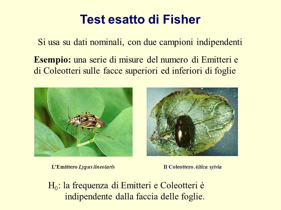 Test esatto di Fisher Si usa su dati nominali, con due campioni indipendenti Esempio: una serie di misure del numero di Emitteri e di Coleotteri sulle