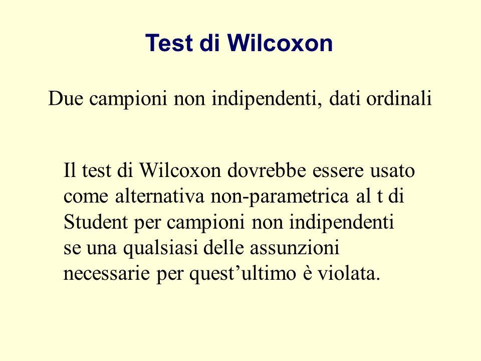 Test di Wilcoxon Due campioni non indipendenti, dati ordinali Il test di Wilcoxon dovrebbe essere usato come alternativa non-parametrica al t di Stude