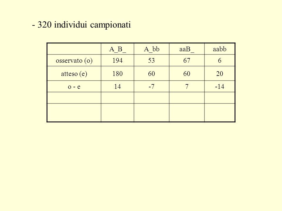 - 320 individui campionati A_B_A_bbaaB_aabb osservato (o)19453676 atteso (e)18060 20 o - e14-77-14
