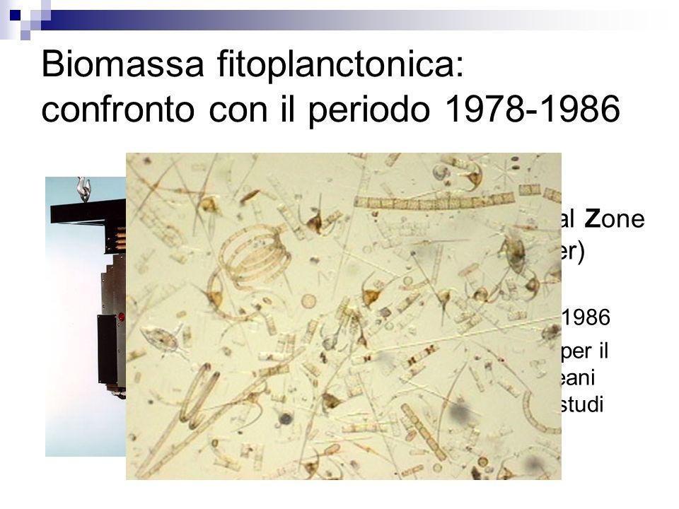 Biomassa fitoplanctonica: confronto con il periodo 1978-1986 CZCS (Coastal Zone Color Scanner) Lancio: 1978 Fine missione: 1986 Primo sensore per il c