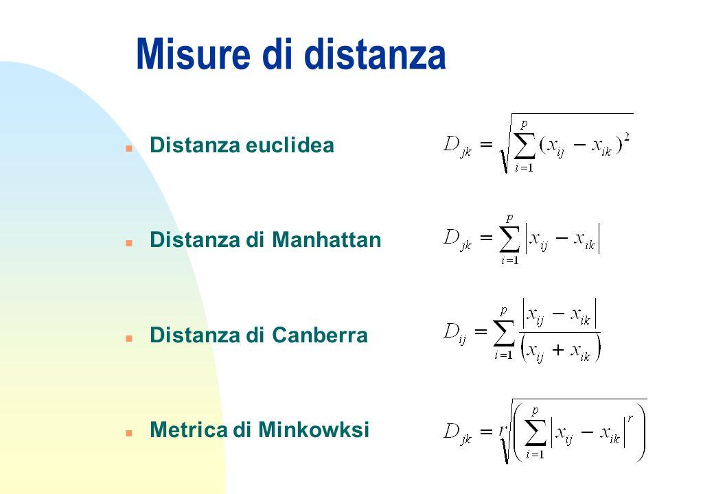 Misure di distanza n Distanza euclidea n Distanza di Manhattan n Distanza di Canberra n Metrica di Minkowksi