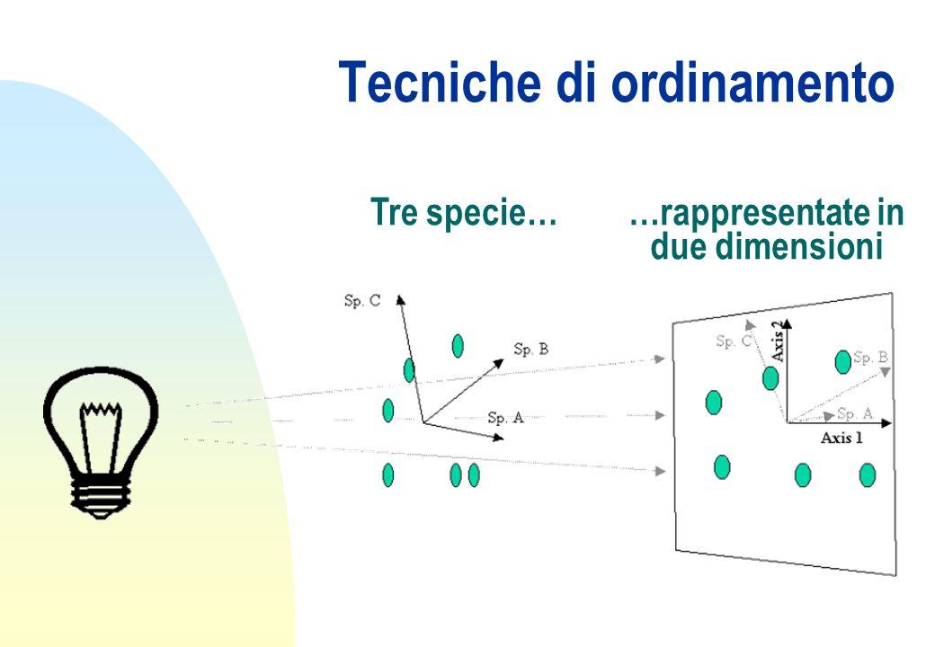 Tecniche di ordinamento Tre specie……rappresentate in due dimensioni