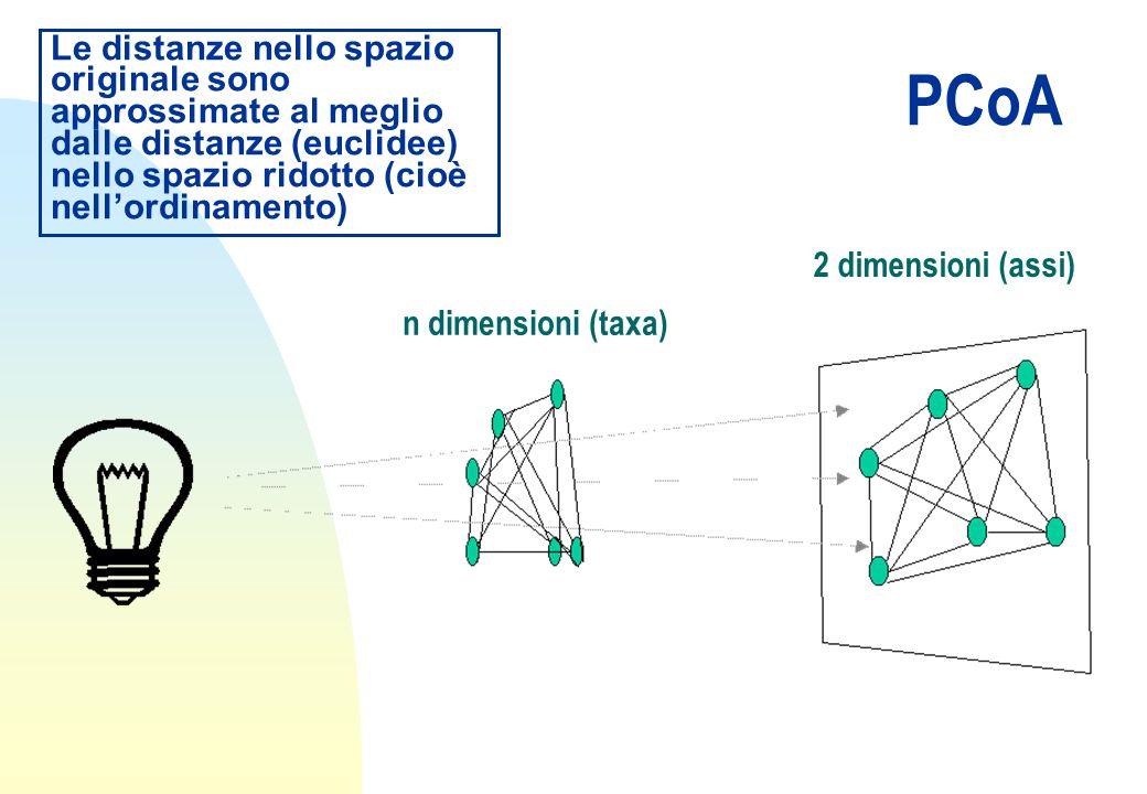 PCoA Le distanze nello spazio originale sono approssimate al meglio dalle distanze (euclidee) nello spazio ridotto (cioè nellordinamento) n dimensioni