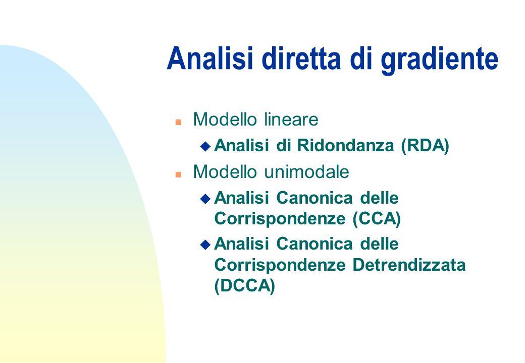 Analisi diretta di gradiente n Modello lineare u Analisi di Ridondanza (RDA) n Modello unimodale u Analisi Canonica delle Corrispondenze (CCA) u Anali