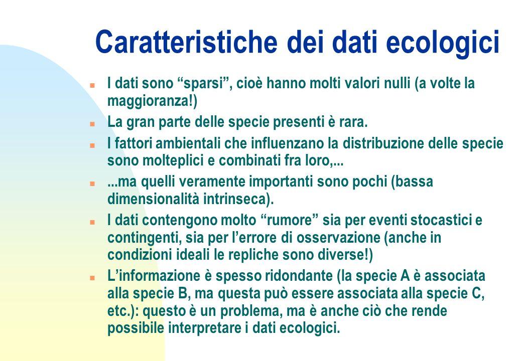 Caratteristiche dei dati ecologici n I dati sono sparsi, cioè hanno molti valori nulli (a volte la maggioranza!) n La gran parte delle specie presenti