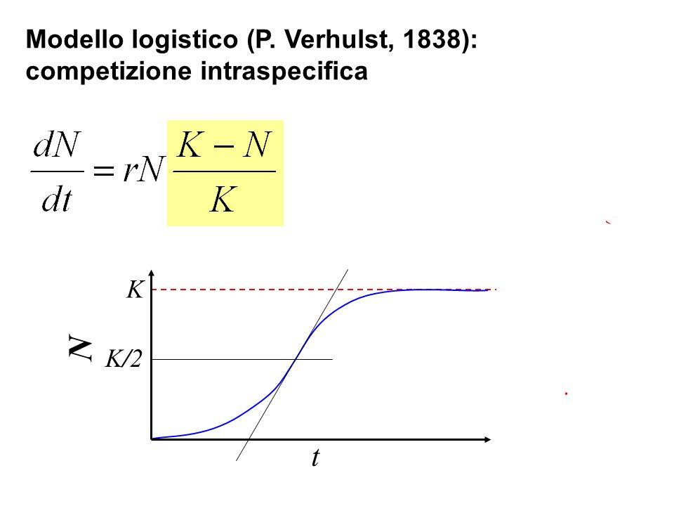 Modello logistico (P. Verhulst, 1838): competizione intraspecifica K K/2K/2 t N