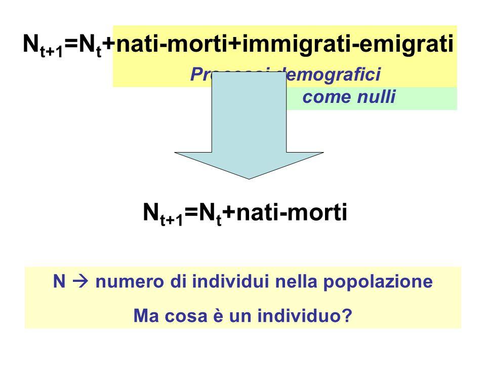 Sia assumono come nulli Processi demografici N t+1 =N t +nati-morti+immigrati-emigrati N t+1 =N t +nati-morti N numero di individui nella popolazione Ma cosa è un individuo?