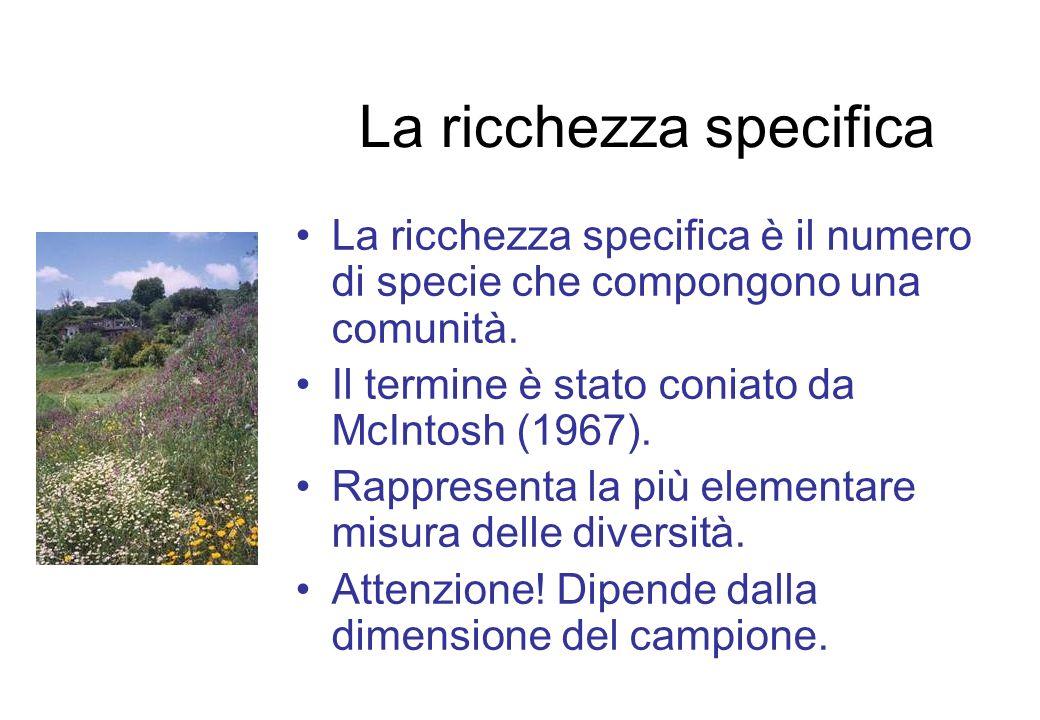 La ricchezza specifica La ricchezza specifica è il numero di specie che compongono una comunità. Il termine è stato coniato da McIntosh (1967). Rappre