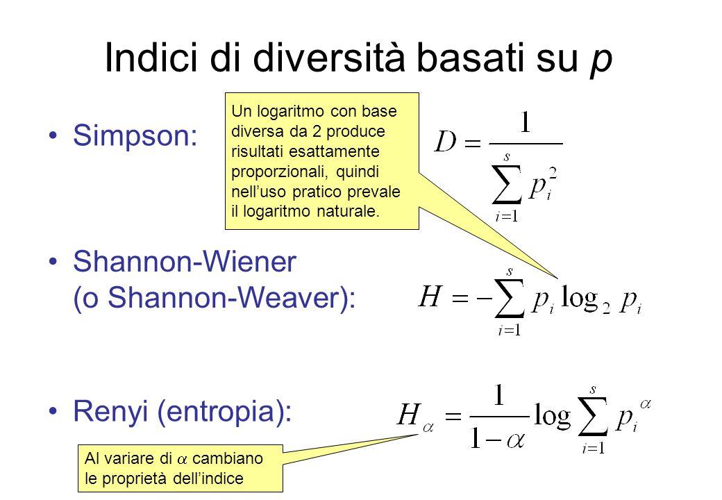 Indici di diversità basati su p Simpson: Shannon-Wiener (o Shannon-Weaver): Un logaritmo con base diversa da 2 produce risultati esattamente proporzio