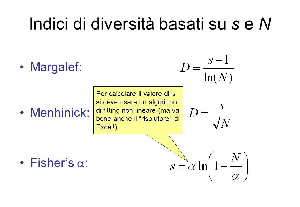 Indici di diversità basati su s e N Margalef: Menhinick: Fishers : Per calcolare il valore di si deve usare un algoritmo di fitting non lineare (ma va