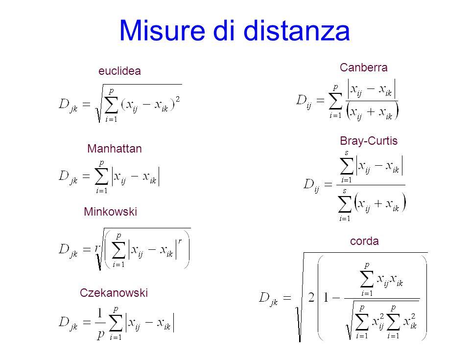 Misure di distanza euclidea Manhattan Minkowski Czekanowski corda Canberra Bray-Curtis
