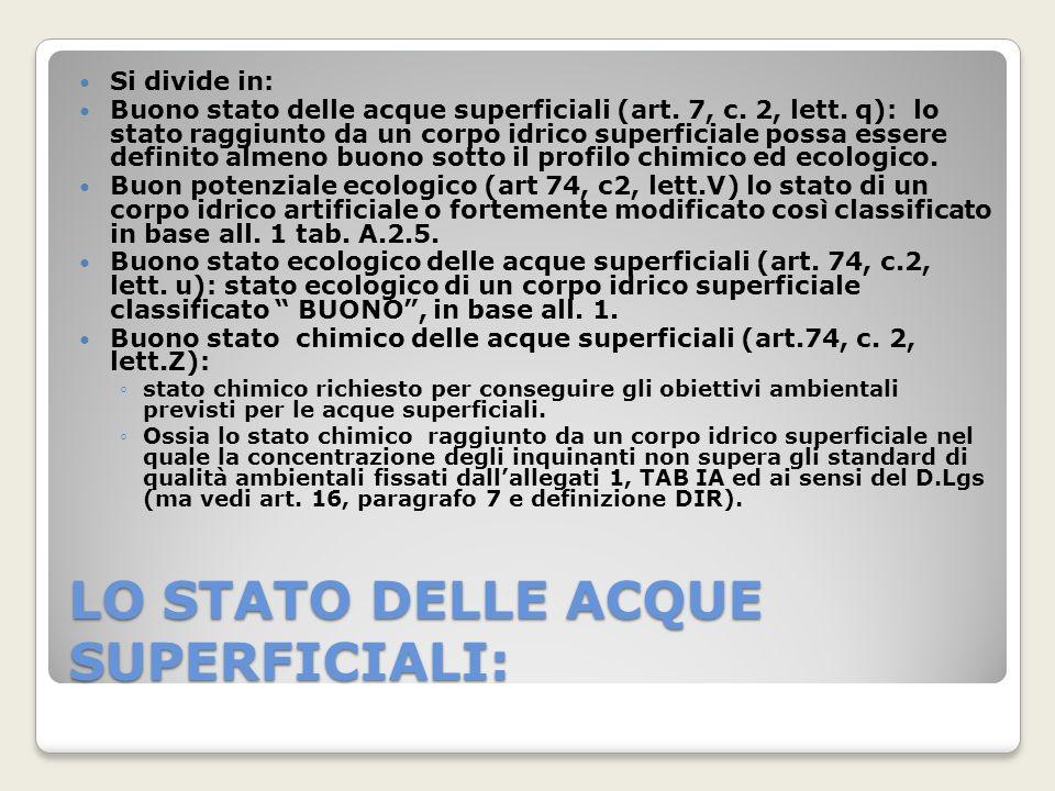 LO STATO DELLE ACQUE SUPERFICIALI: Si divide in: Buono stato delle acque superficiali (art. 7, c. 2, lett. q): lo stato raggiunto da un corpo idrico s