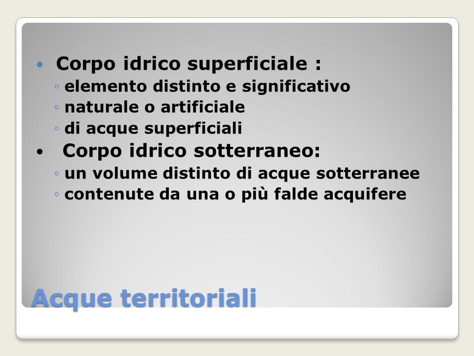 Acque territoriali Corpo idrico superficiale : elemento distinto e significativo naturale o artificiale di acque superficiali Corpo idrico sotterraneo