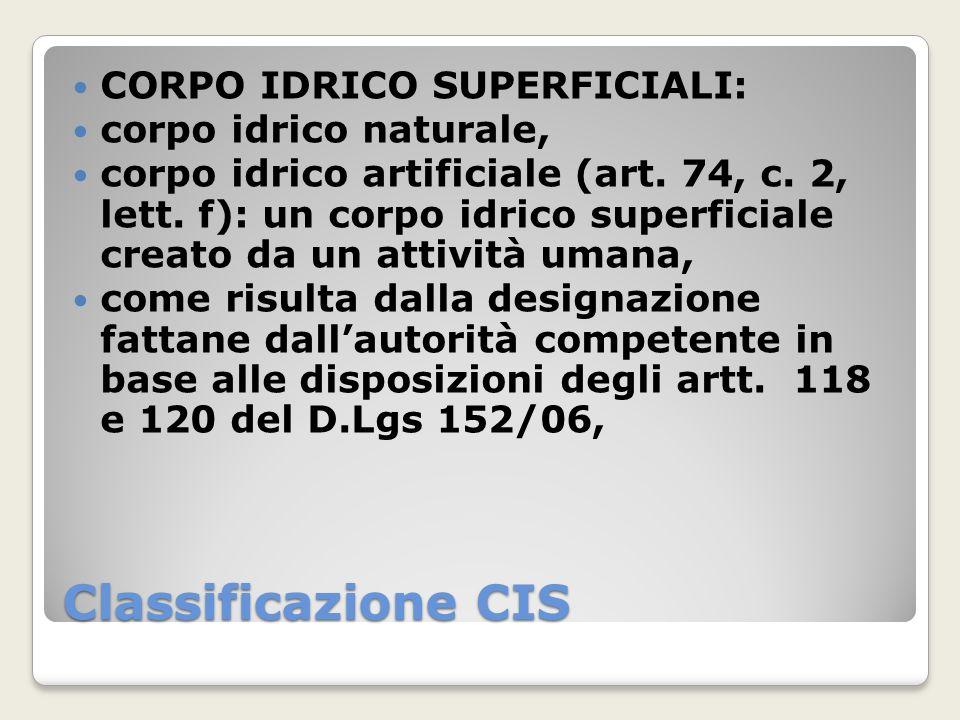 Classificazione CIS CORPO IDRICO SUPERFICIALI: corpo idrico naturale, corpo idrico artificiale (art. 74, c. 2, lett. f): un corpo idrico superficiale