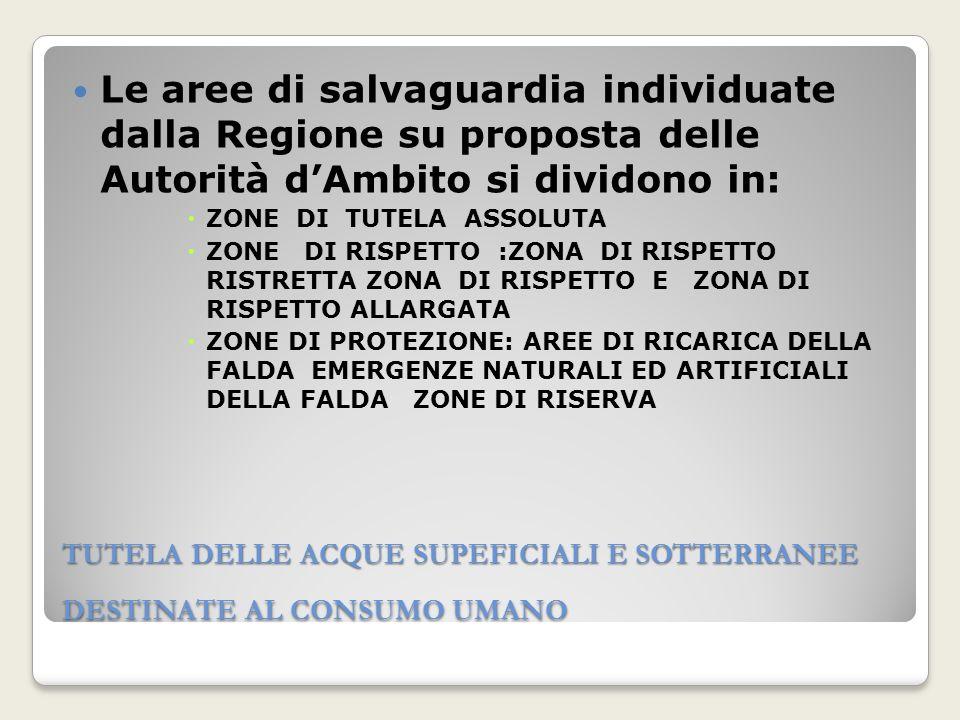 TUTELA DELLE ACQUE SUPEFICIALI E SOTTERRANEE DESTINATE AL CONSUMO UMANO Le aree di salvaguardia individuate dalla Regione su proposta delle Autorità d
