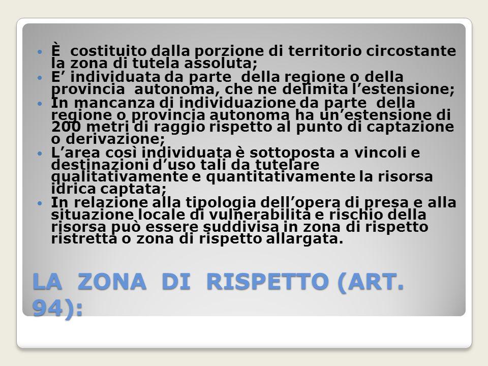 LA ZONA DI RISPETTO (ART. 94): È costituito dalla porzione di territorio circostante la zona di tutela assoluta; E individuata da parte della regione