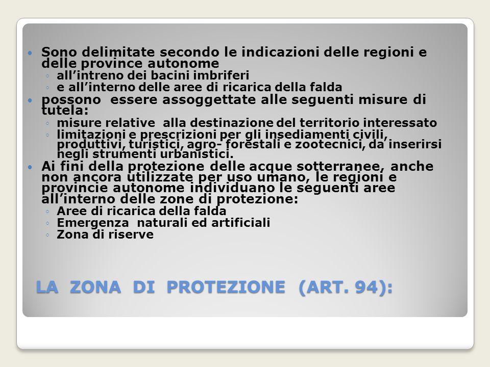 LA ZONA DI PROTEZIONE (ART. 94): Sono delimitate secondo le indicazioni delle regioni e delle province autonome allintreno dei bacini imbriferi e alli