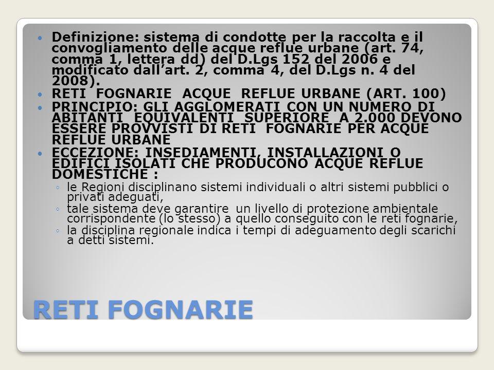 RETI FOGNARIE Definizione: sistema di condotte per la raccolta e il convogliamento delle acque reflue urbane (art. 74, comma 1, lettera dd) del D.Lgs