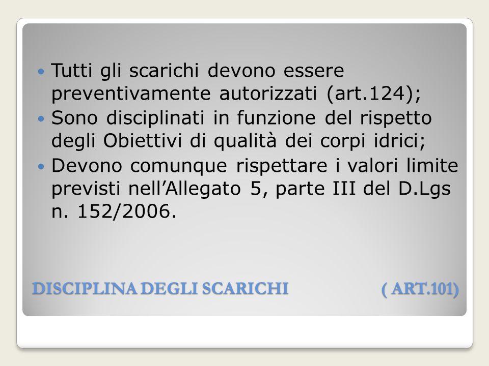 DISCIPLINA DEGLI SCARICHI ( ART.101) Tutti gli scarichi devono essere preventivamente autorizzati (art.124); Sono disciplinati in funzione del rispett