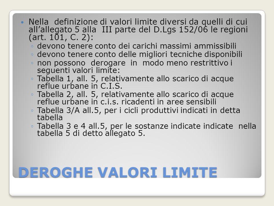 DEROGHE VALORI LIMITE Nella definizione di valori limite diversi da quelli di cui allallegato 5 alla III parte del D.Lgs 152/06 le regioni (art. 101,