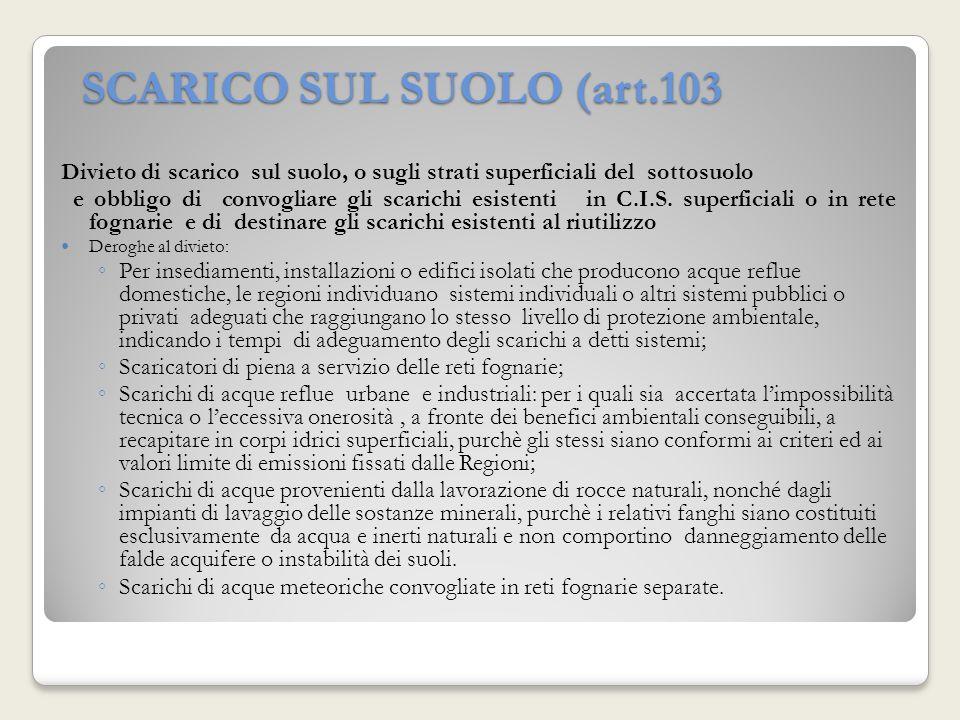 SCARICO SUL SUOLO (art.103 Divieto di scarico sul suolo, o sugli strati superficiali del sottosuolo e obbligo di convogliare gli scarichi esistenti in