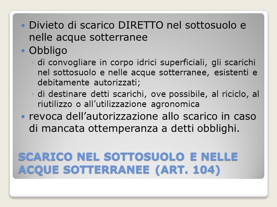 SCARICO NEL SOTTOSUOLO E NELLE ACQUE SOTTERRANEE (ART. 104) Divieto di scarico DIRETTO nel sottosuolo e nelle acque sotterranee Obbligo di convogliare