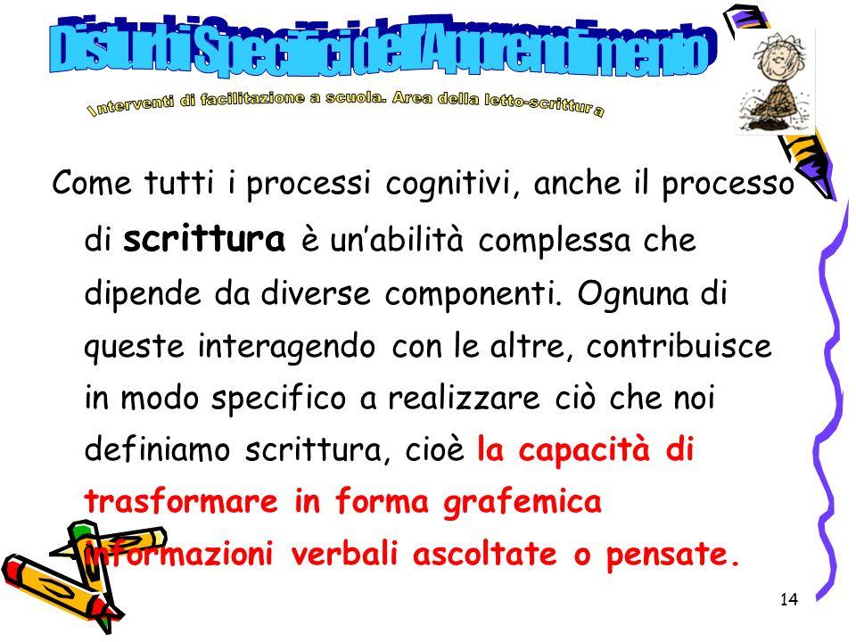 14 Come tutti i processi cognitivi, anche il processo di scrittura è unabilità complessa che dipende da diverse componenti.