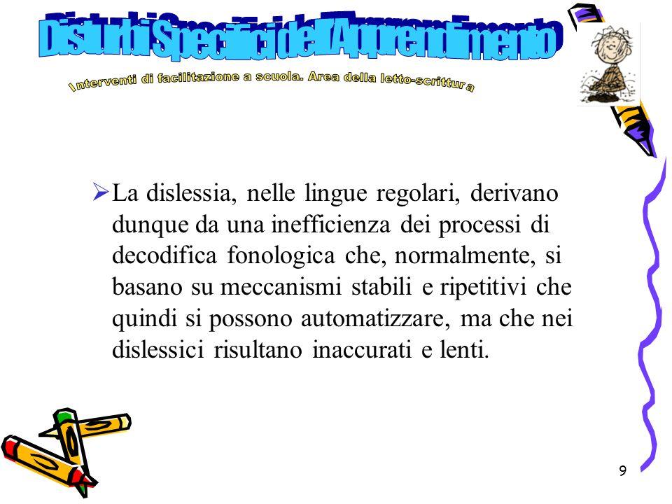 10 Lapprendimento di procedure sublessicali precede la costruzione di procedure lessicali ad accesso diretto al significato.