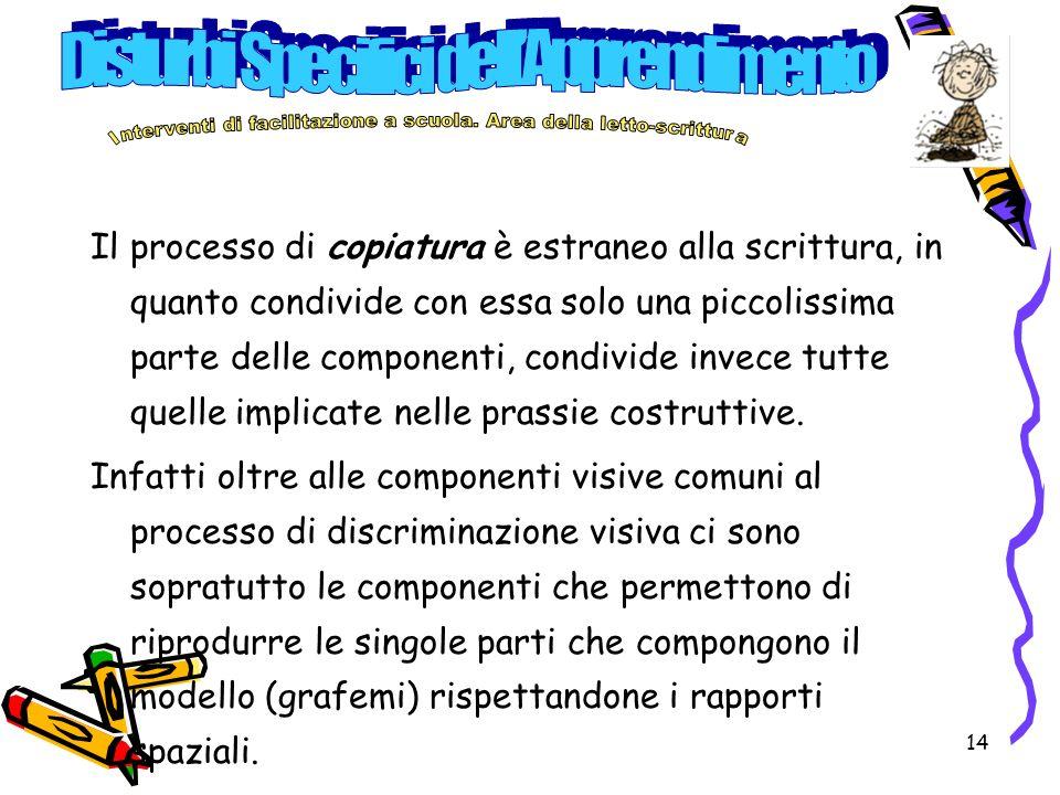 14 Il processo di copiatura è estraneo alla scrittura, in quanto condivide con essa solo una piccolissima parte delle componenti, condivide invece tut