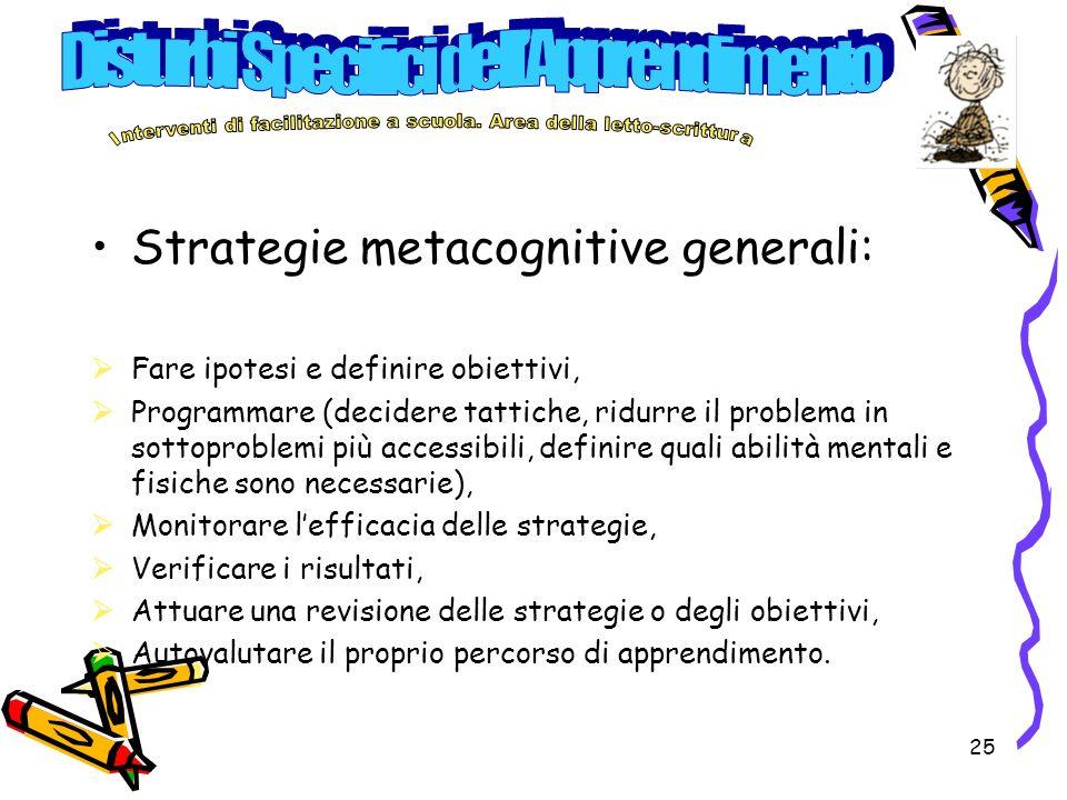 25 Strategie metacognitive generali: Fare ipotesi e definire obiettivi, Programmare (decidere tattiche, ridurre il problema in sottoproblemi più acces