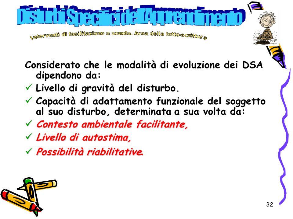32 Considerato che le modalità di evoluzione dei DSA dipendono da: Livello di gravità del disturbo. Capacità di adattamento funzionale del soggetto al