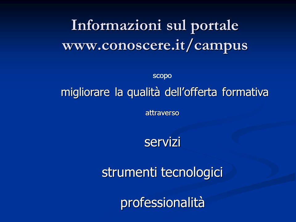 Informazioni sul portale www.conoscere.it/campus scopo migliorare la qualità dellofferta formativa professionalità attraverso strumenti tecnologici servizi