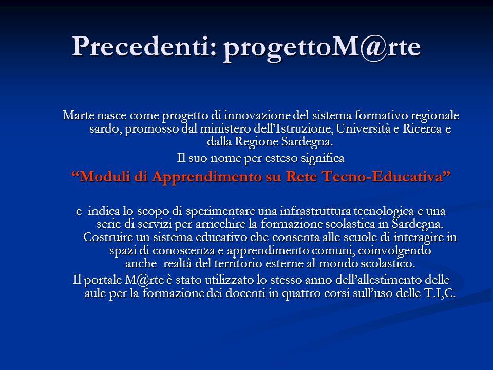 Precedenti: progettoM@rte Marte nasce come progetto di innovazione del sistema formativo regionale sardo, promosso dal ministero dellIstruzione, Unive
